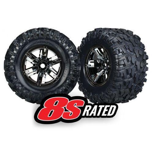 Koła 2szt. do X-Maxx 8S / Black Chrome Wheels, Maxx AT tires