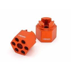 ALUMINUM HEX HUB (4mm OFFSET/ORANGE/2pcs)